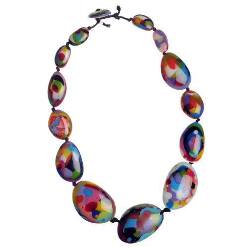 A Jackie Brazil Long Flat Riverstone Necklace in Kandinsky A